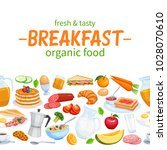 breakfast seamless border food... | Shutterstock .eps vector #1028070610
