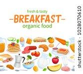 breakfast seamless border food...   Shutterstock .eps vector #1028070610