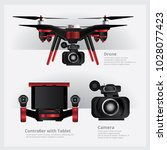 drone with vdo camera and... | Shutterstock .eps vector #1028077423