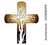 Golden Christian Cross On A...