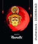 happy navratri festival vector... | Shutterstock .eps vector #1028086363