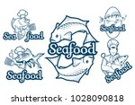 set with seafood. isolated on... | Shutterstock .eps vector #1028090818