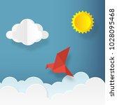 illustration in paper art style.... | Shutterstock .eps vector #1028095468