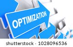 optimization   blue arrow with... | Shutterstock . vector #1028096536