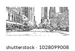 downtown of west side new york... | Shutterstock .eps vector #1028099008