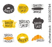colorful bakery lettering set.... | Shutterstock .eps vector #1028100784