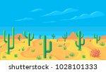 pixel art desert at day.... | Shutterstock .eps vector #1028101333