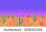 pixel art desert at night.... | Shutterstock .eps vector #1028101336