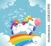 little unicorn with rainbow and ... | Shutterstock .eps vector #1028101900