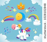 vector set with unicorns  star  ... | Shutterstock .eps vector #1028102848