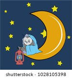 an owl is sitting with a lamp... | Shutterstock .eps vector #1028105398