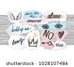 torn off paper edges collage... | Shutterstock .eps vector #1028107486