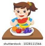 a little girl happy to eat... | Shutterstock .eps vector #1028111566