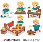 the daily routine of a cute boy ... | Shutterstock .eps vector #1028111740