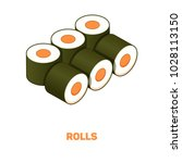 rolls color isometric style...   Shutterstock .eps vector #1028113150