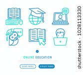 online education thin line... | Shutterstock .eps vector #1028113330