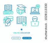 online education thin line... | Shutterstock .eps vector #1028113330