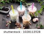 variety of bubble tea in... | Shutterstock . vector #1028113528