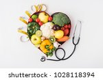 vegetables and fruits laying in ... | Shutterstock . vector #1028118394