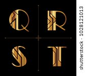 art deco alphabet design... | Shutterstock .eps vector #1028121013