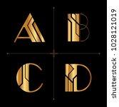 art deco alphabet design... | Shutterstock .eps vector #1028121019