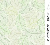 white and green seamless leaves ... | Shutterstock .eps vector #1028121130