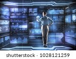 smart employer. calm attentive... | Shutterstock . vector #1028121259