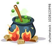 cartoon vector boiling green...   Shutterstock .eps vector #1028123998
