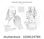 future technologies in cosmos... | Shutterstock .eps vector #1028124784
