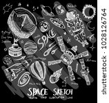 space doodle illustration...   Shutterstock .eps vector #1028126764