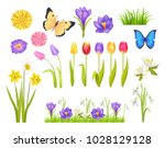 flowers and butterflies... | Shutterstock .eps vector #1028129128