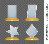 empty glass trophy awards... | Shutterstock .eps vector #1028134360