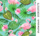 seamless pattern with tropical... | Shutterstock .eps vector #1028135173
