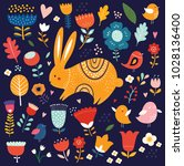 vector illustration with cute... | Shutterstock .eps vector #1028136400