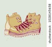 hiking boots  vector... | Shutterstock .eps vector #1028145658