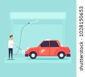 car wash. flat design vector... | Shutterstock .eps vector #1028150653