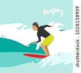vector illustration of surfing. ... | Shutterstock .eps vector #1028158909
