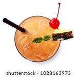 glass of mai tai cocktail... | Shutterstock . vector #1028163973