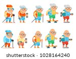 fitness granny grandfather... | Shutterstock .eps vector #1028164240