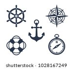 Set Of Marine  Maritime Or...