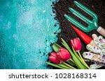 springtime gardening works... | Shutterstock . vector #1028168314