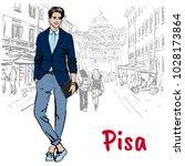 woman walking on street of pisa ... | Shutterstock .eps vector #1028173864