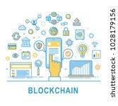 blockchain technology line... | Shutterstock .eps vector #1028179156