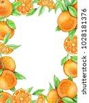 rectangular frame  oranges ...   Shutterstock . vector #1028181376