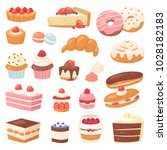 cake vector chocolate... | Shutterstock .eps vector #1028182183