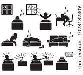 sleeping and sleep related icon ... | Shutterstock .eps vector #1028182309