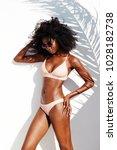 stunning bikini babe standing... | Shutterstock . vector #1028182738