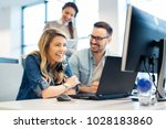 group of business people and... | Shutterstock . vector #1028183860