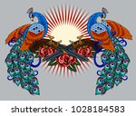 peacocks and revolvers with... | Shutterstock .eps vector #1028184583