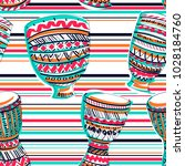 seamless pattern with drums tam ... | Shutterstock .eps vector #1028184760